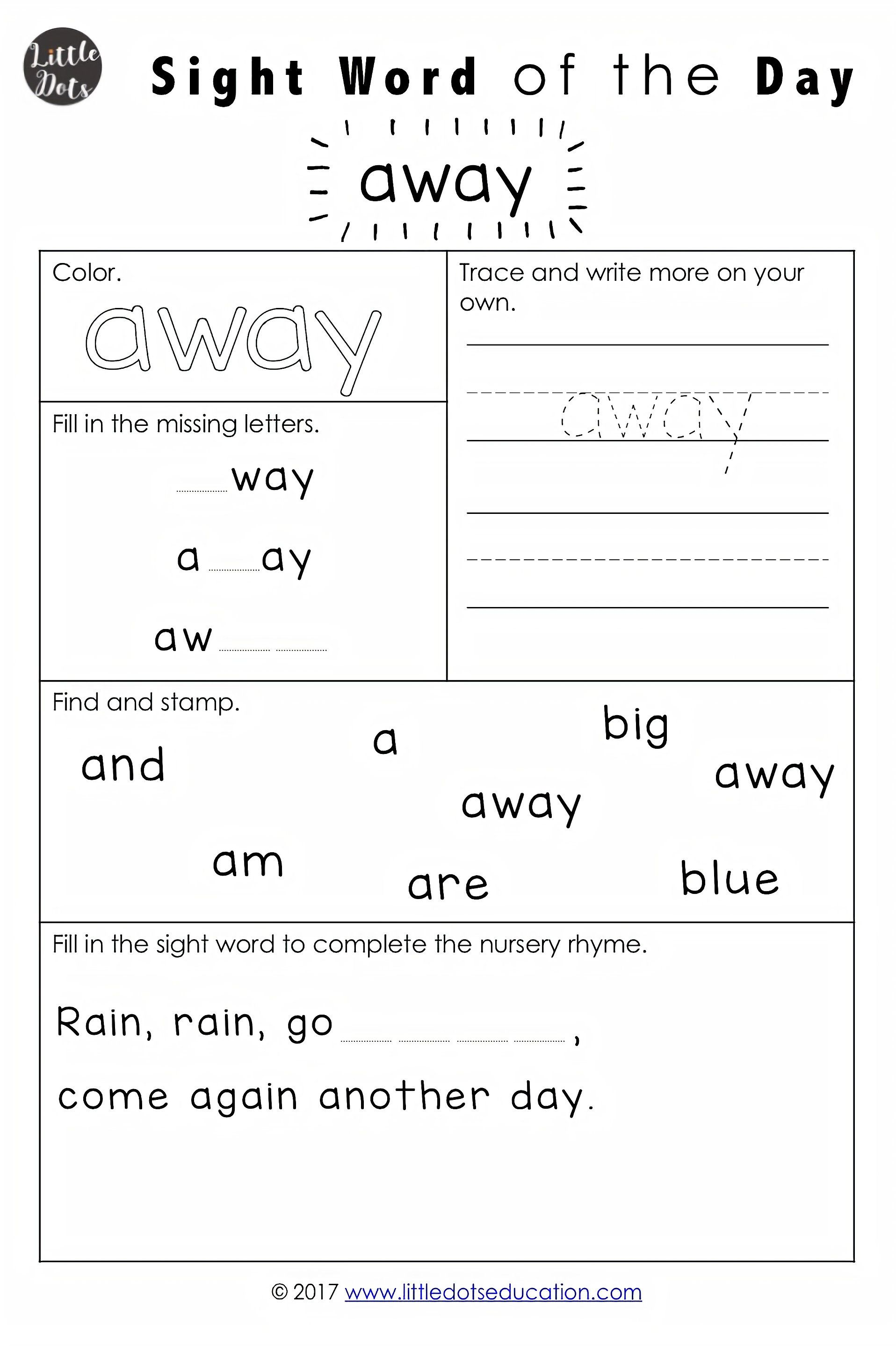 Dolch Pre Primer Sight Words Activities With Images Pre Primer