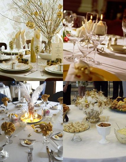 50th wedding anniversary table decorations with gold and white color