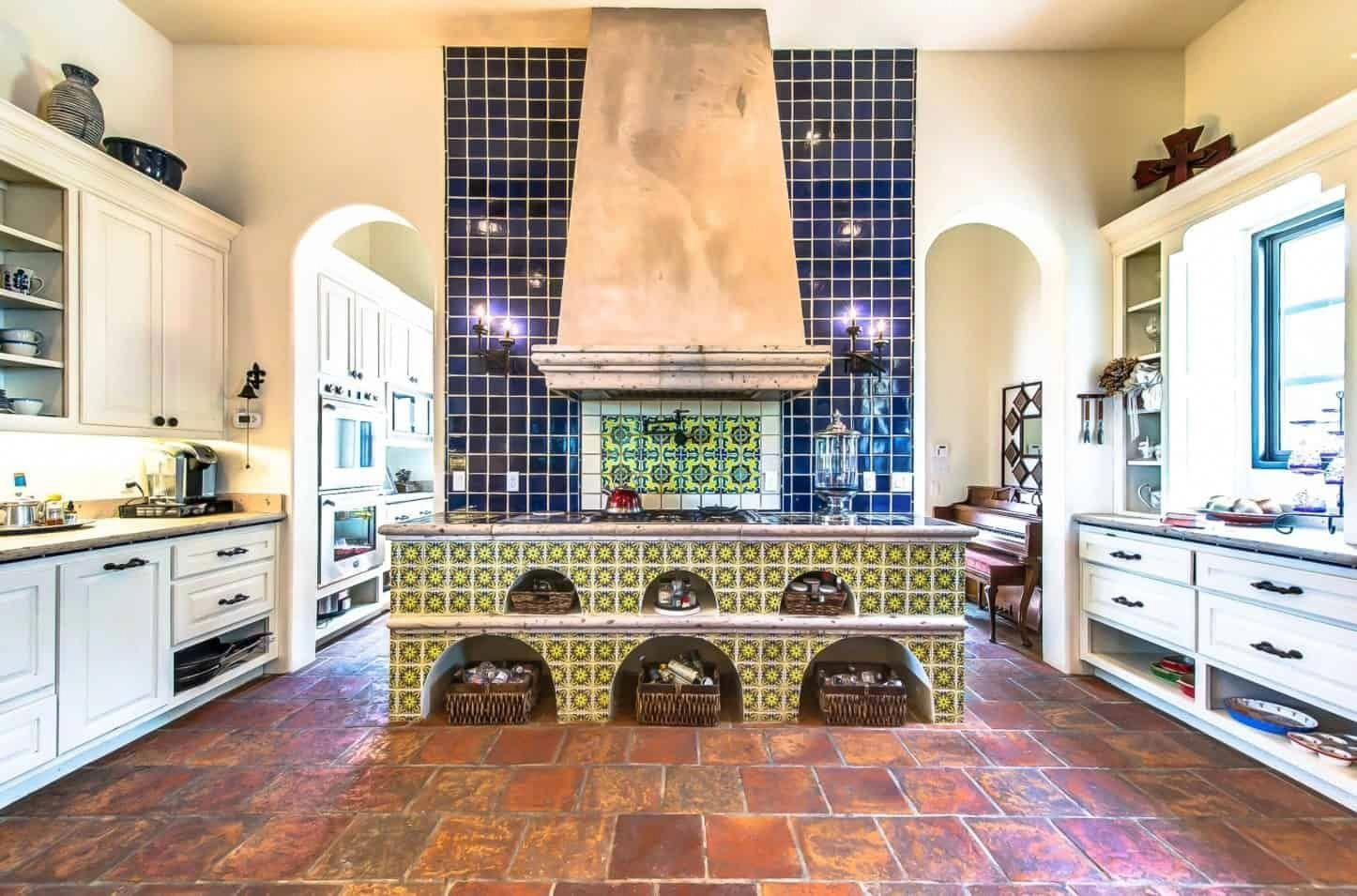 - Southwestern Kitchen Features A Blue Tile Backsplash Accented With