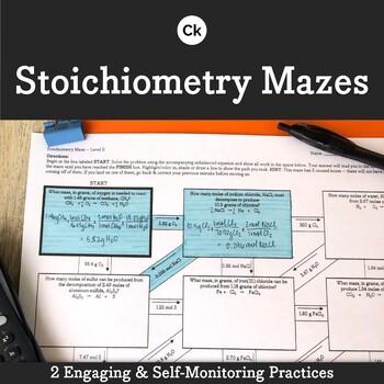 Stoichiometry Worksheet Mazes Self monitoring, Student