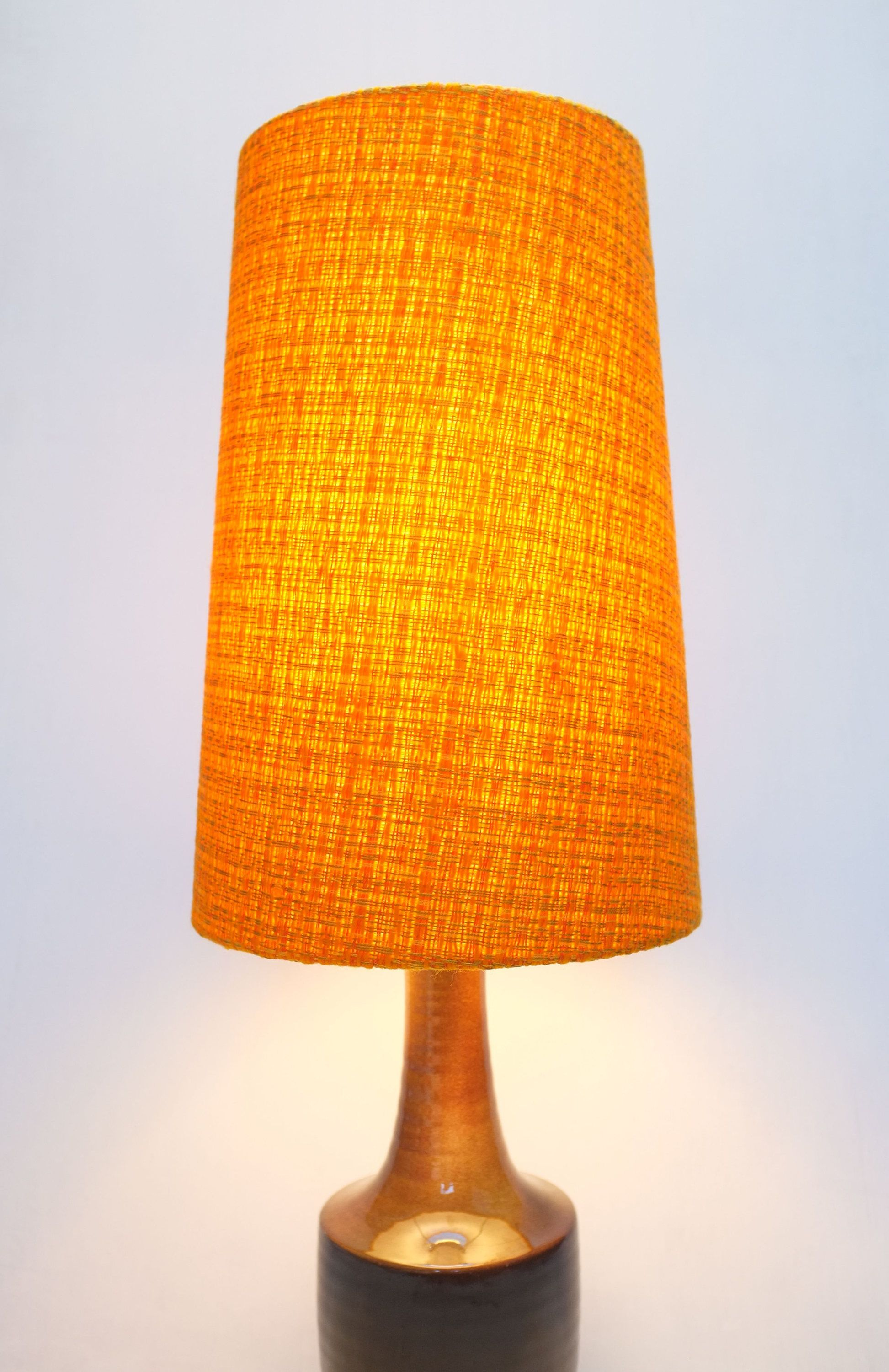 Retro Lampshade Original Fabric Extra Tall Conical 60s 70s Orange Gold Vintage By Poppetretro On Etsy