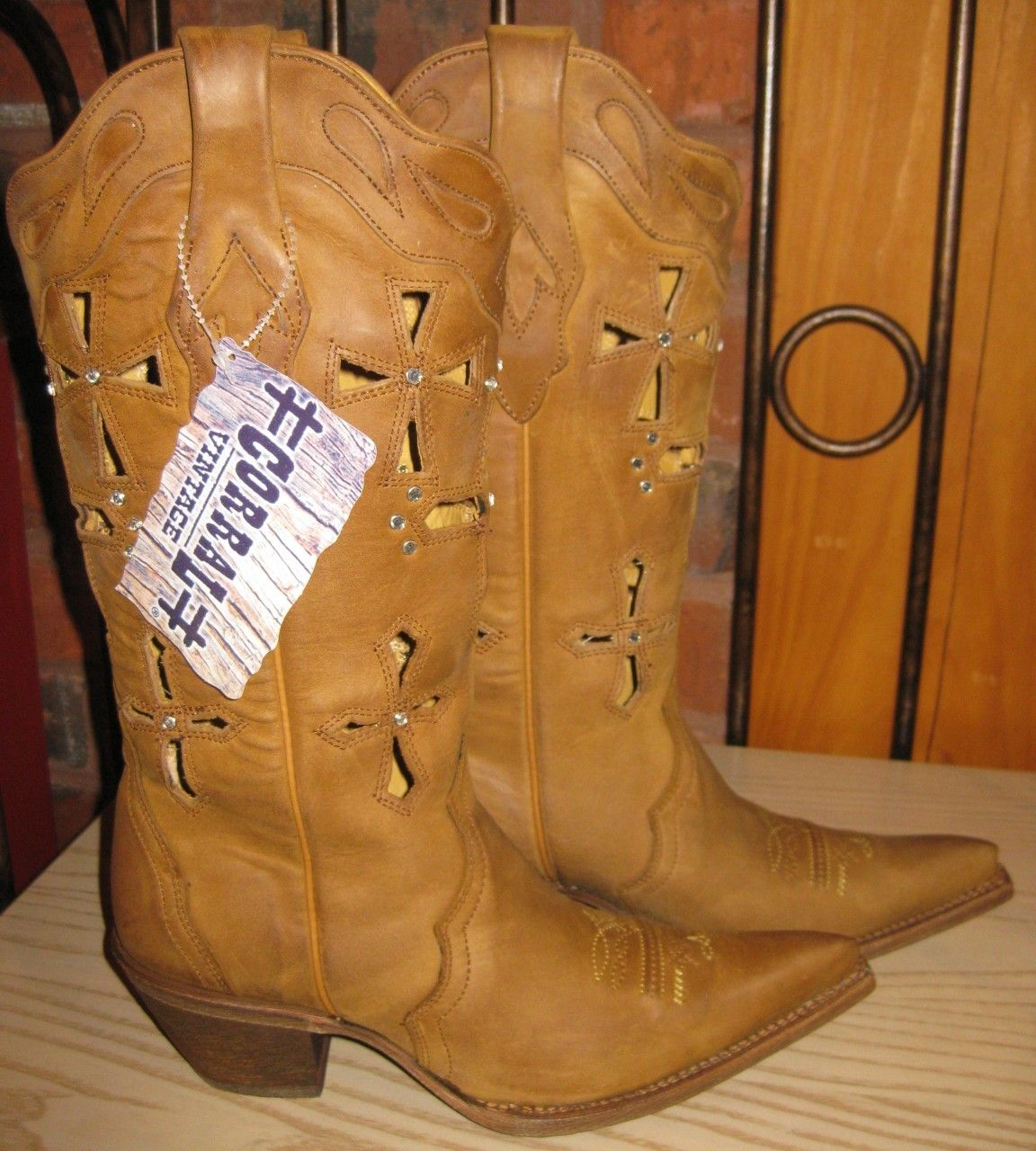 Corral Boots Tan Brown Cross Cut Out