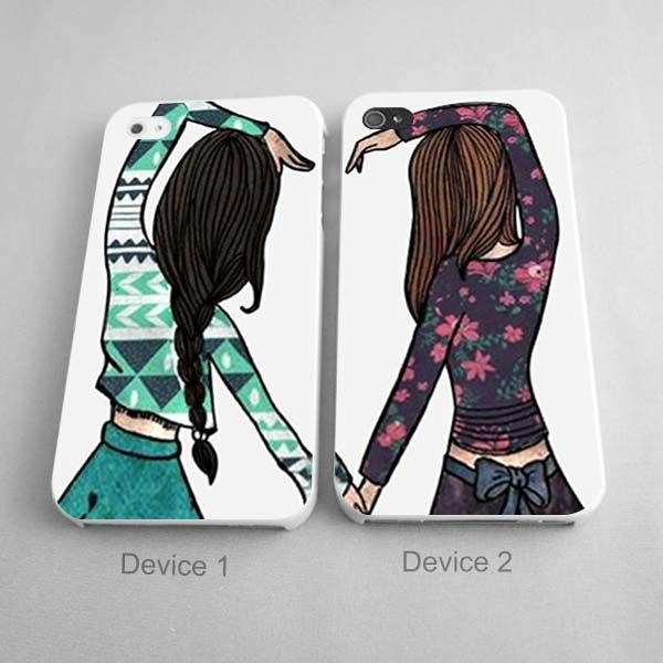 Best Friend Forever Brown And Black Hair Girls Couples Phone Case Iphone 4 4s 5 5s 5c Series Hard Plas Best Friend Cases Bff Phone Cases Iphone Phone Cases
