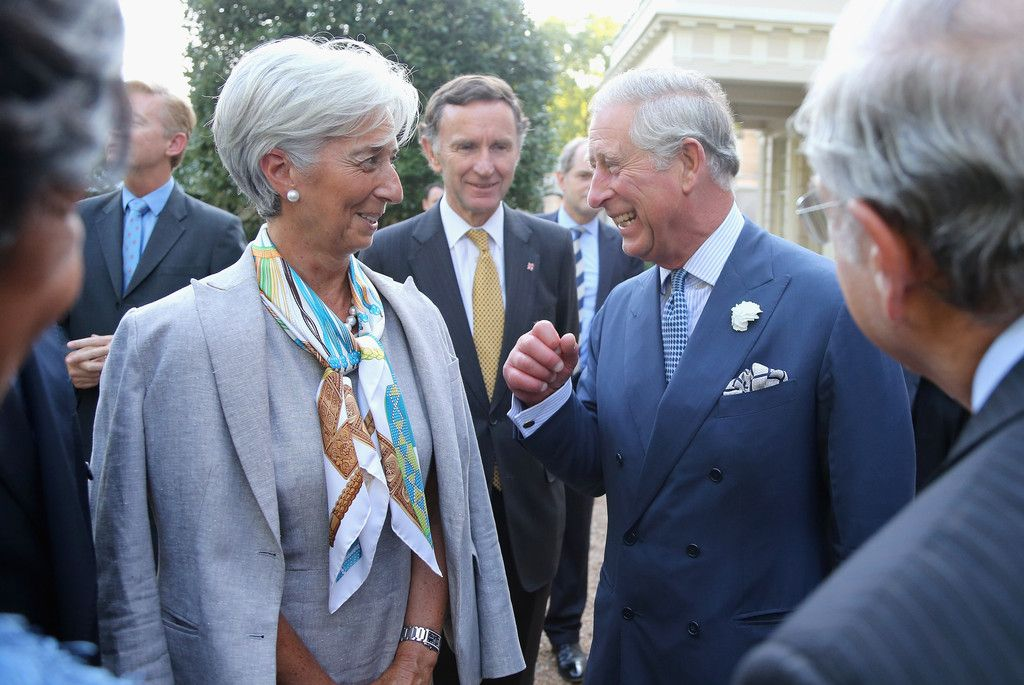 Christine Lagarde Patterned Scarf   Christine Lagarde in