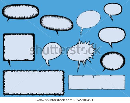 Eleven Various Comic Book Text Boxes And Speech Bubbles By