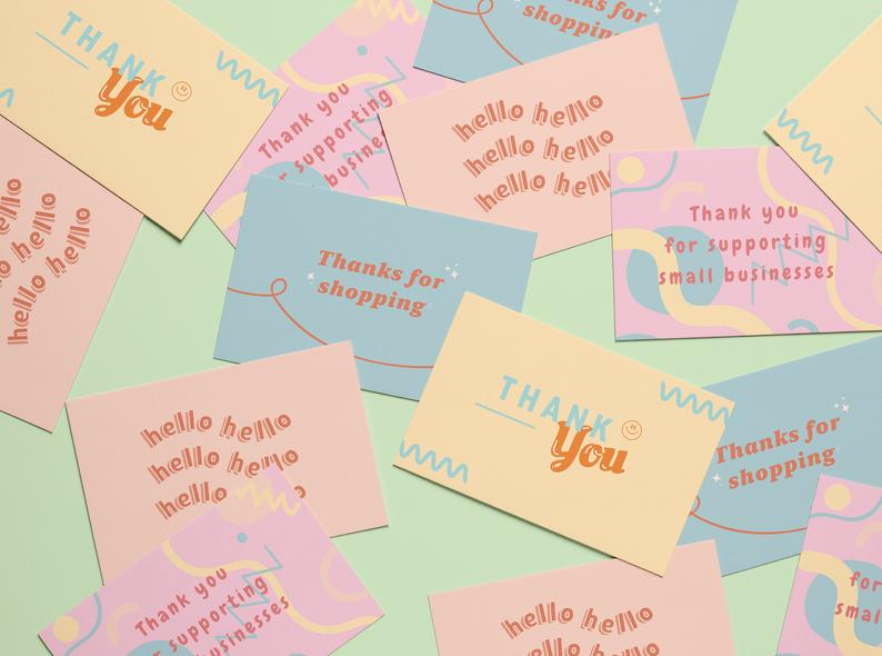 Thank You For Your Purchase Cards Pastel Fun Stylish Etsy Businessthankyoucards Thank You For Y Pastel Business Cards Purchase Card Thank You Card Design