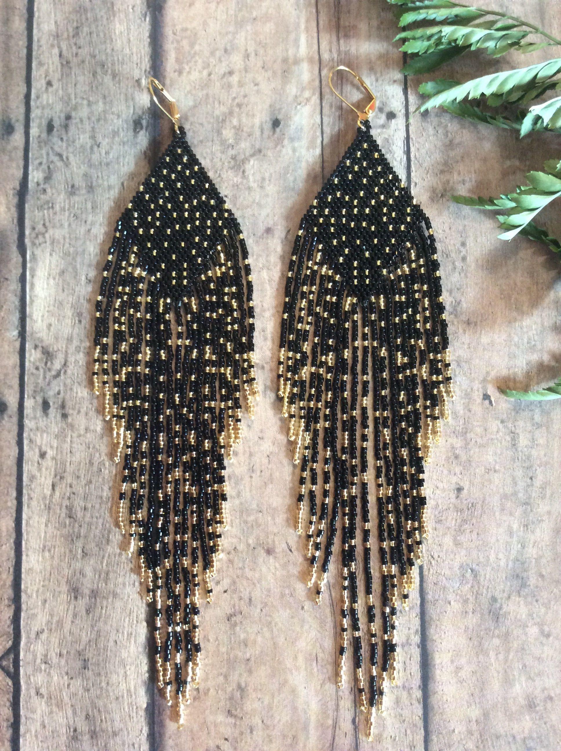 Seed Beaded Earring Name Night Skies Long Shoulder Dusters