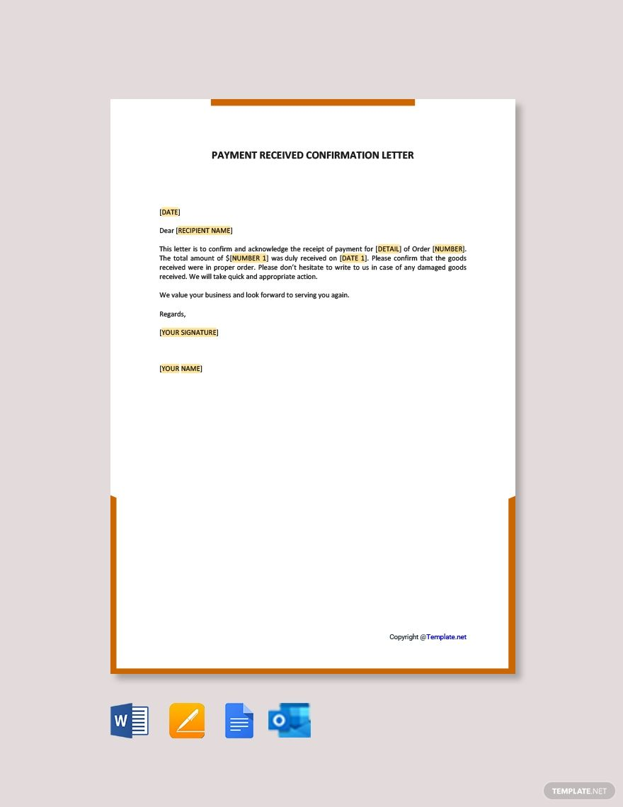 Payment Received Confirmation Letter Template Free Pdf Google Docs Word Template Net Confirmation Letter Letter Templates Free Lettering
