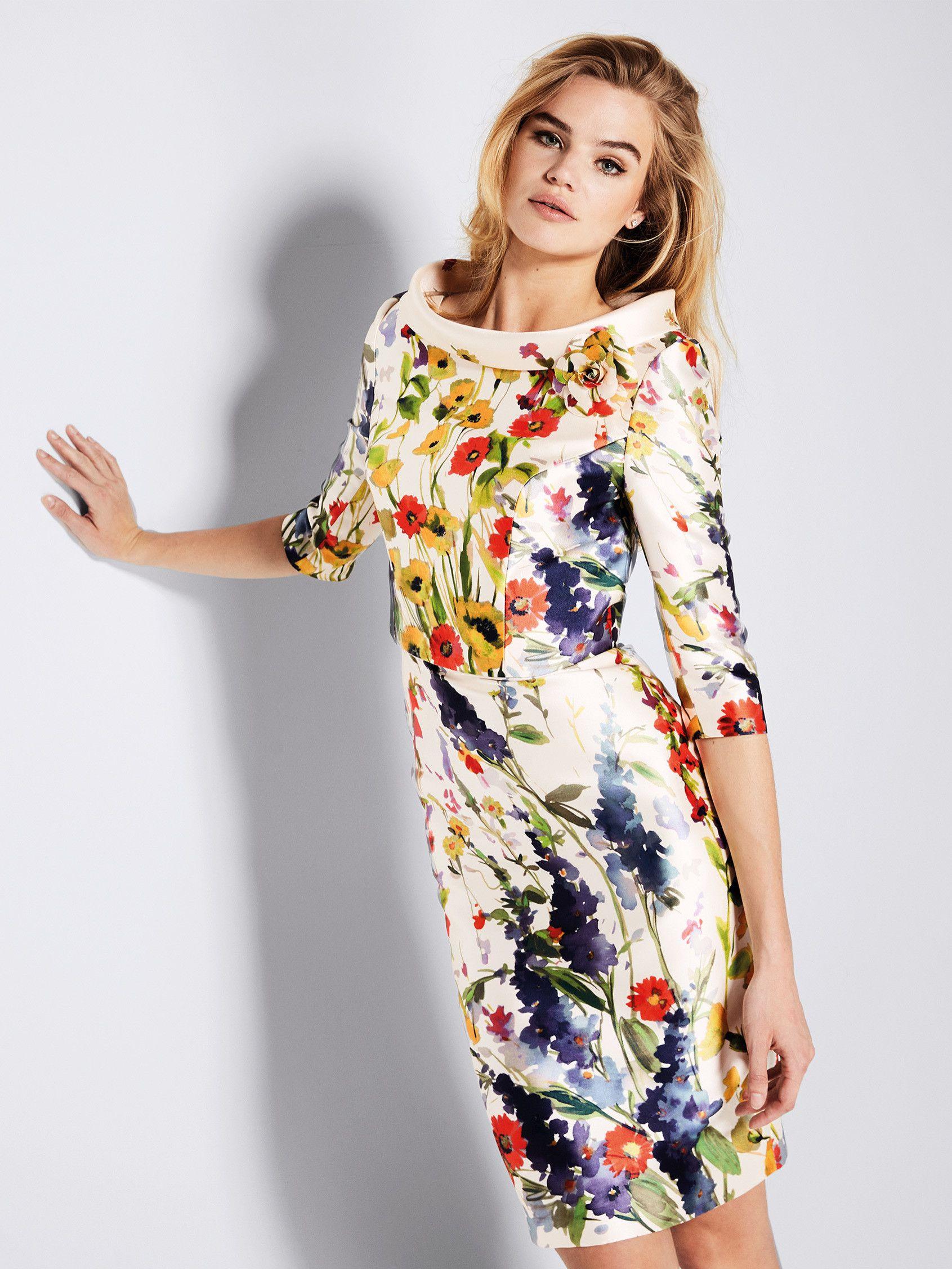 Gavina: Vestido de cóctel estampado floral con chaqueta | Pronovias 2018 |  Pronovias