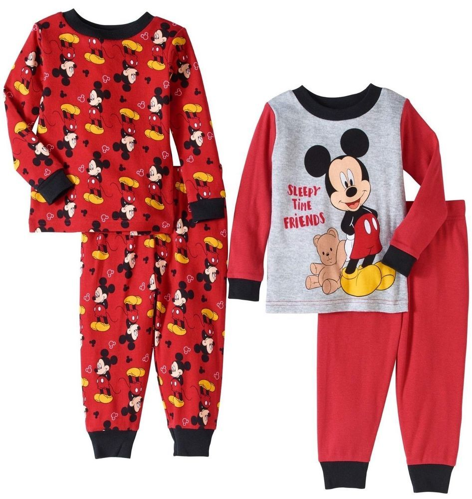 Baby Boys Disney Mickey Mouse Pyjamas 2 Pack set 100/% Cotton  0-24 MONTHS