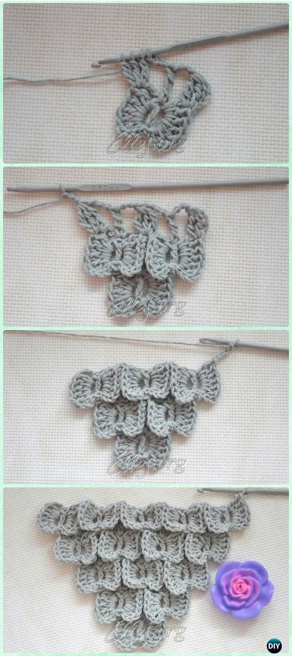 Crochet Butterfly Stitch Free Patterns | Puntadas, Tejido y Ganchillo