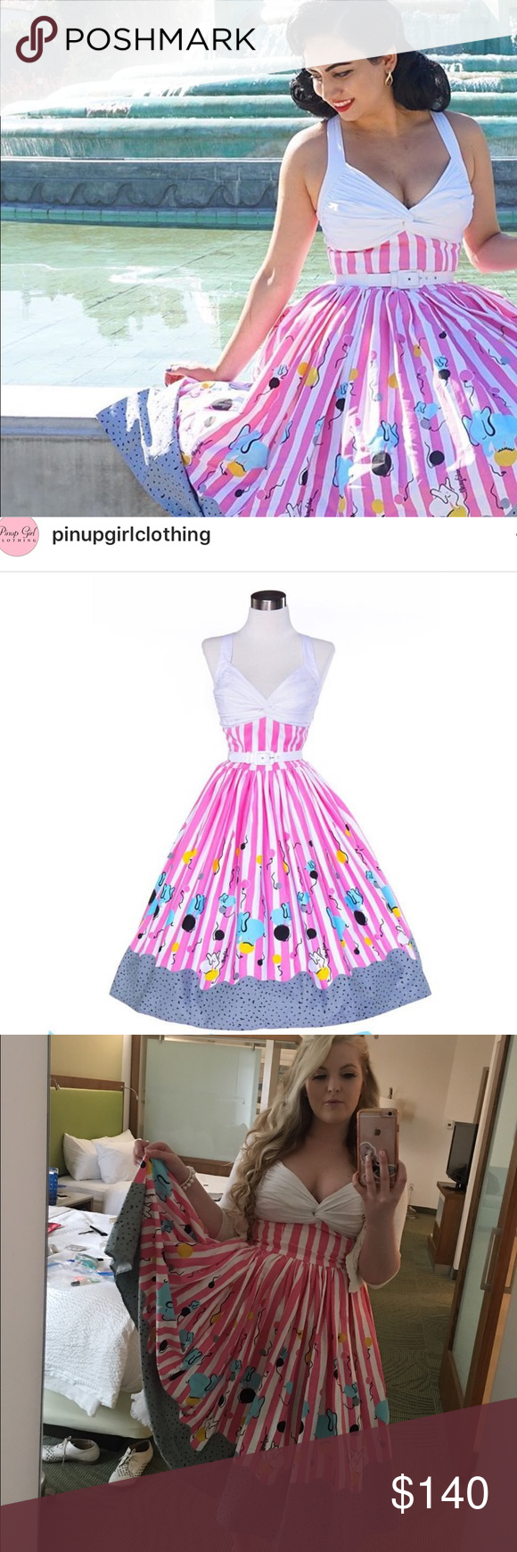 Limited edition pinupgirl clothing circus dress LOVELOVELOVELOVE THIS DRESS! wore to a wedding at an aquarium.  Size medium.  Will post more measurements if needed :) worn once! Pinupgirlclothing limited edition! No longer sold! Rare 1940s style vintage style remake pin up rockabilly pinupgirlclothing Dresses