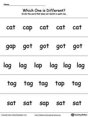 Which One Is Different Ap Words Word Family Worksheets