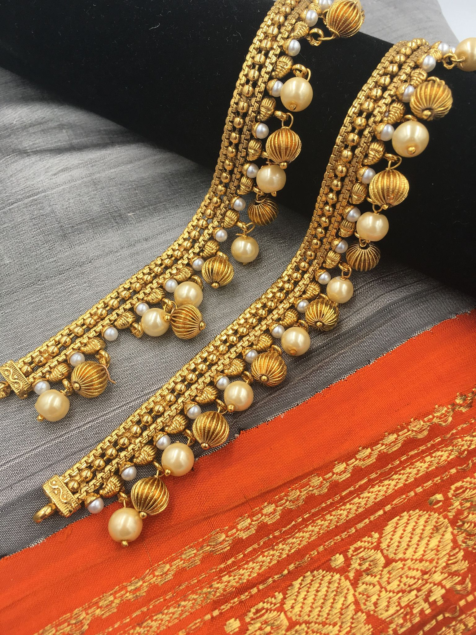 Payal - Moti and Golden Beads | Jewell ! :) in 2019 | Anklet