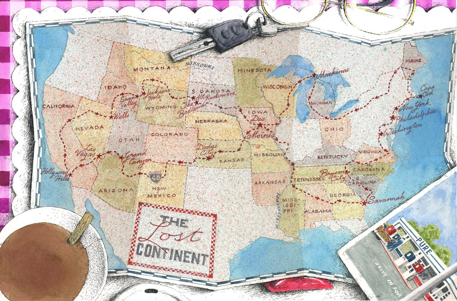 Map Of Us States Bordering Mexico%0A  u    The Lost Continent u     by Bill Bryson   The Folio Society