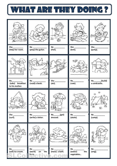 Worksheets For English Learners : Present continuous worksheet free esl printable