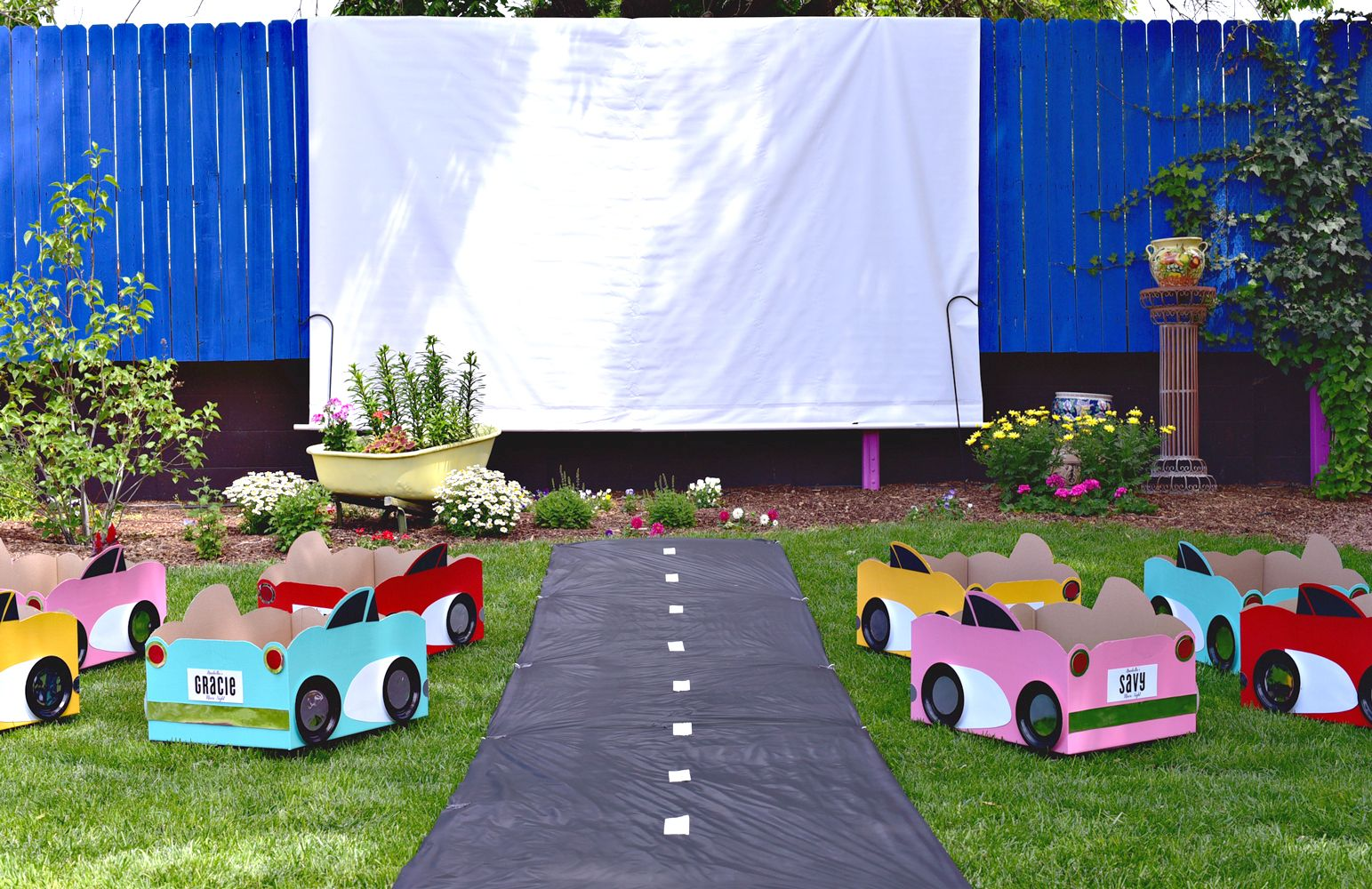Drive in movie theater for a movie night birthday party