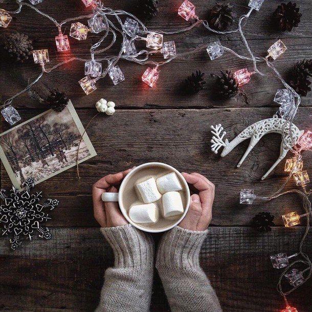 art, christmas, coffee, lights, marshmallow, warm, i'm