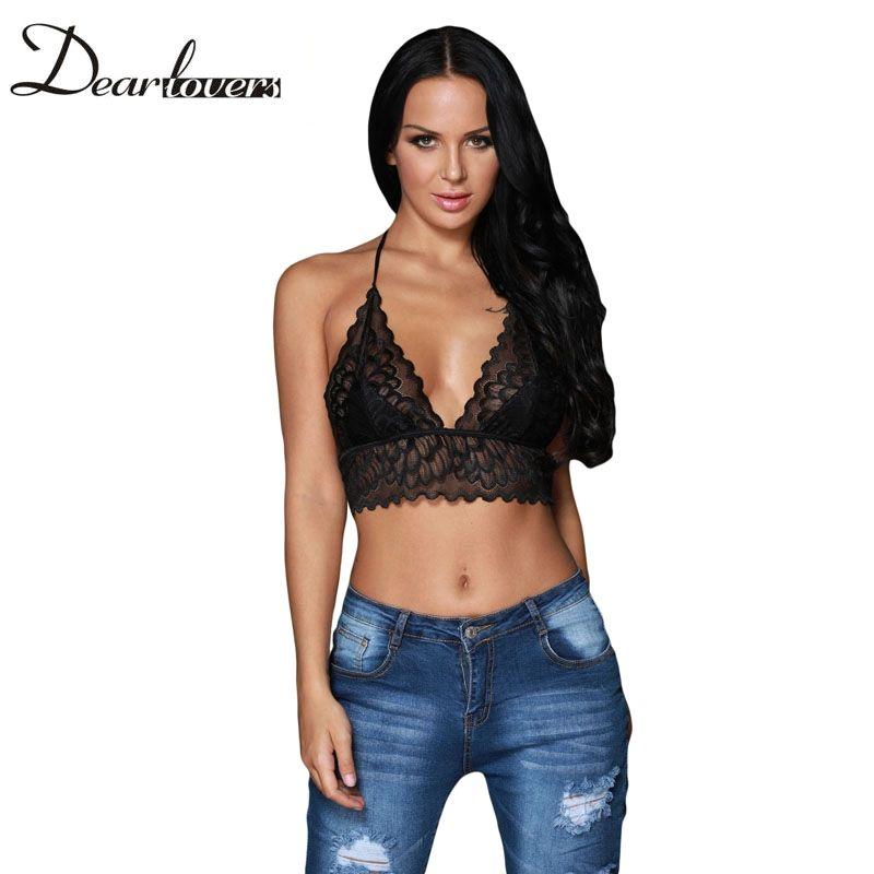 Black Sheer Scalloped Lace Halter Bralette Top Sexy V neck Backless Lace  Short Crop Top Tanque De Renda Top LC250018 79b1e97563d2