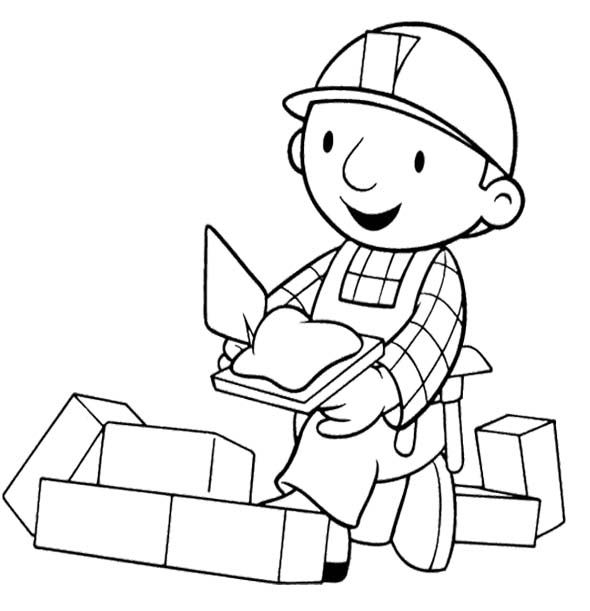 Bob The Builder Construct Brick Coloring Page | Kids Coloring Pages ...