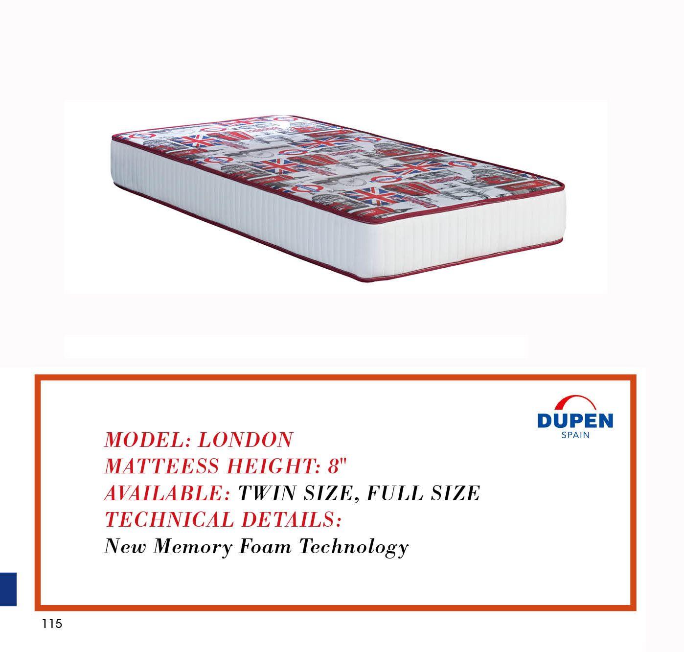london memory foam mattress by dupen spain furnituregallerynyc