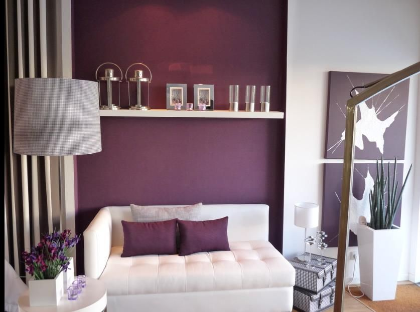 Colour Scheme For Living Room Maybe White With Purple Accent Wall And Grey Accessories