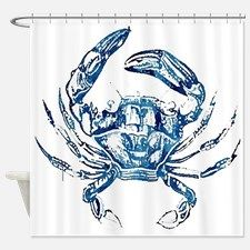 Coastal Nautical Beach Crab Shower Curtain For