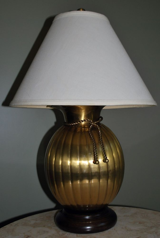 Vintage WILDWOOD Lamps Brass Urn Table Lamp 3 Way Switch, Brass Rope Tie