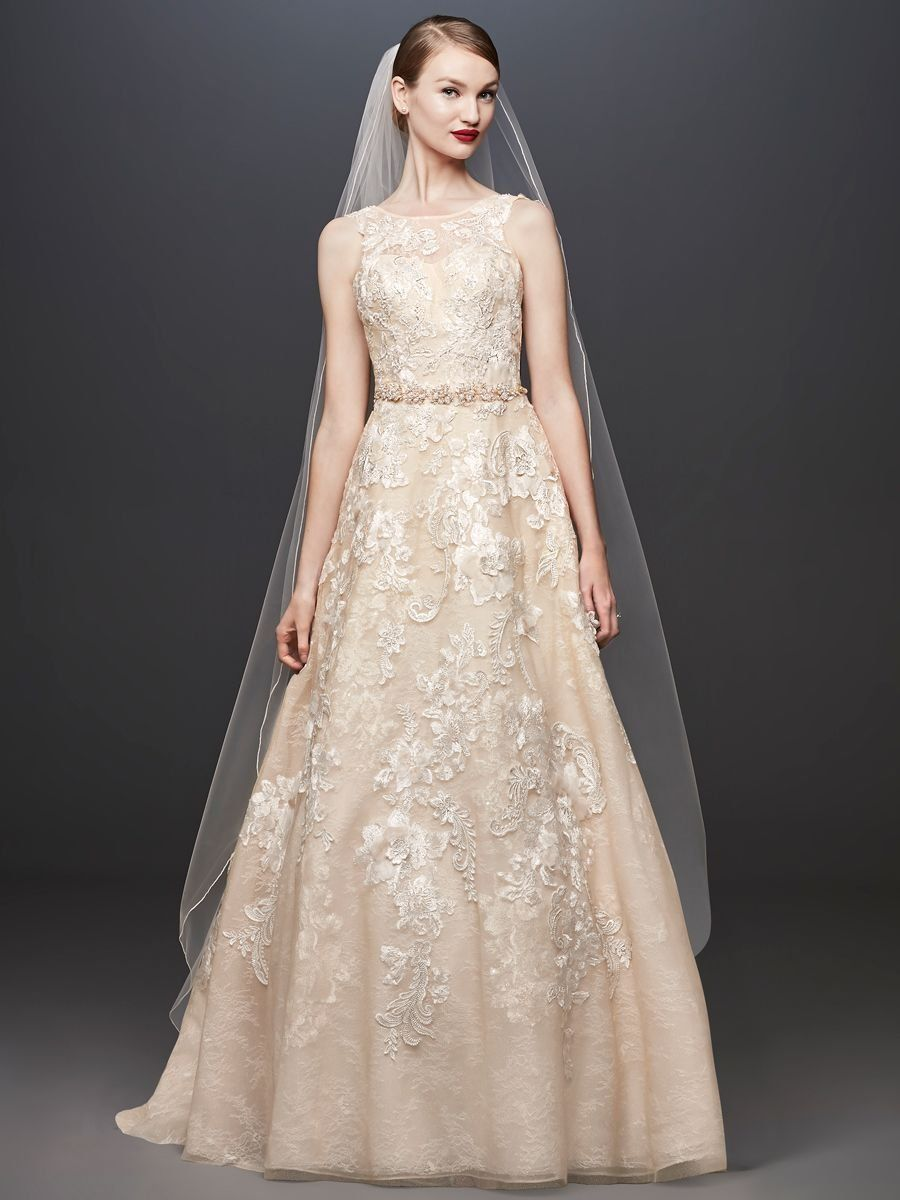 9595196b3ad8 Oleg Cassini at David's Bridal Spring 2019 nude wedding gown with belt and  floral embroidery