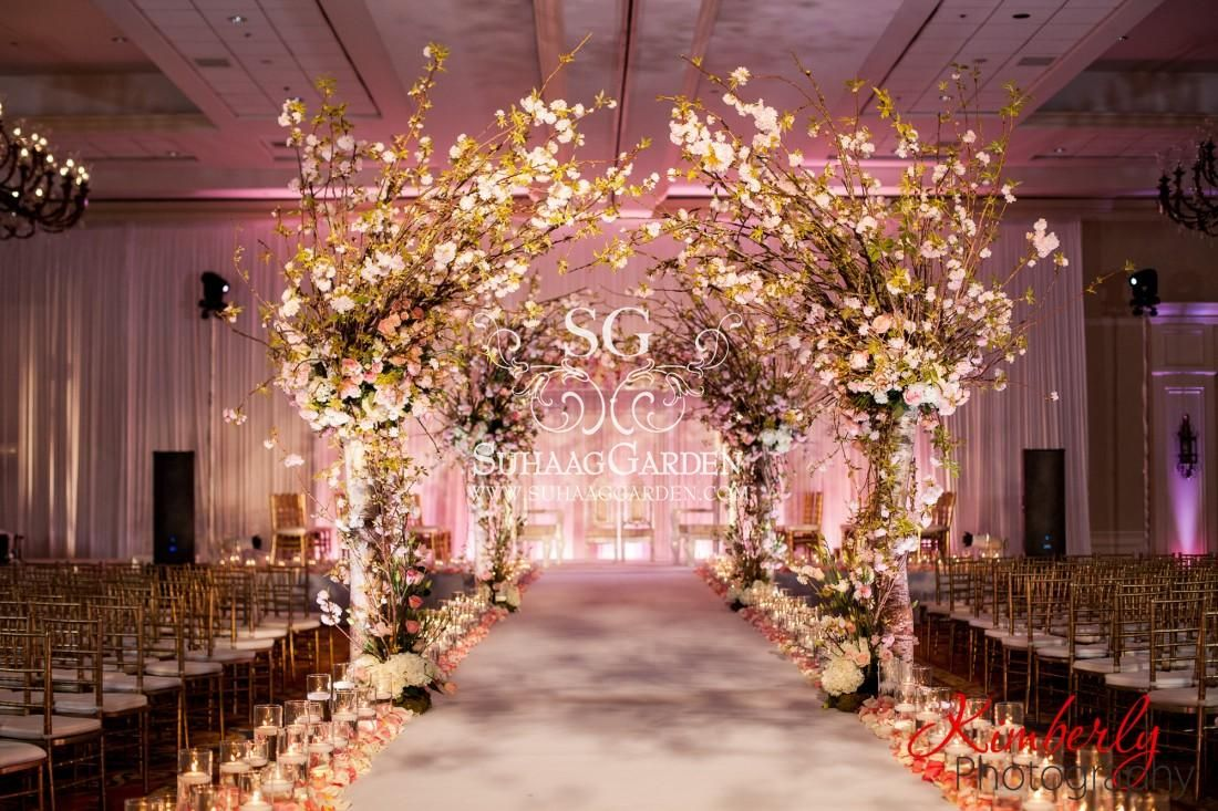 event decor, Cherry Blossom Event design, Florida wedding decorator, India…  | Wedding decorations, Wedding ceremony decorations indoor, Wedding  ceremony decorations