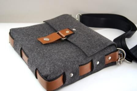 Items similar to Natural dark grey industrial wool felt messenger bag with tan leather trim on Etsy
