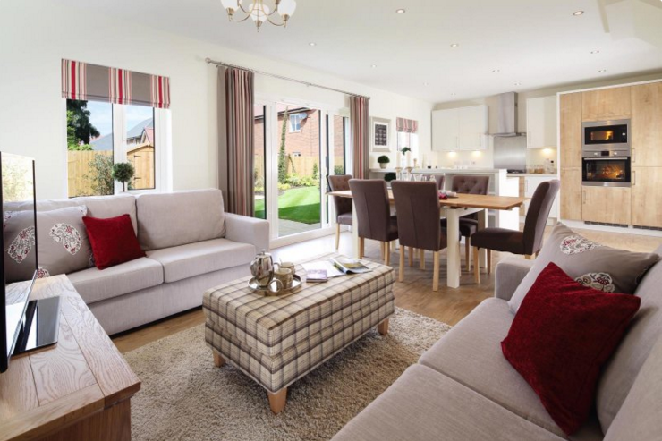 Redrow Homes Shows Us How Open Plan Living Doesn T Need To Mean Clinical Es And No Home Comforts With This Lovely Design Scheme A Pop Of Red
