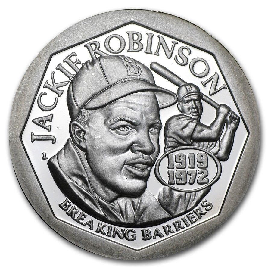 c481b075e1a Jackie Robinson 50th Anniversary 1 ounce silver .999 coin Uncirculated w   patch