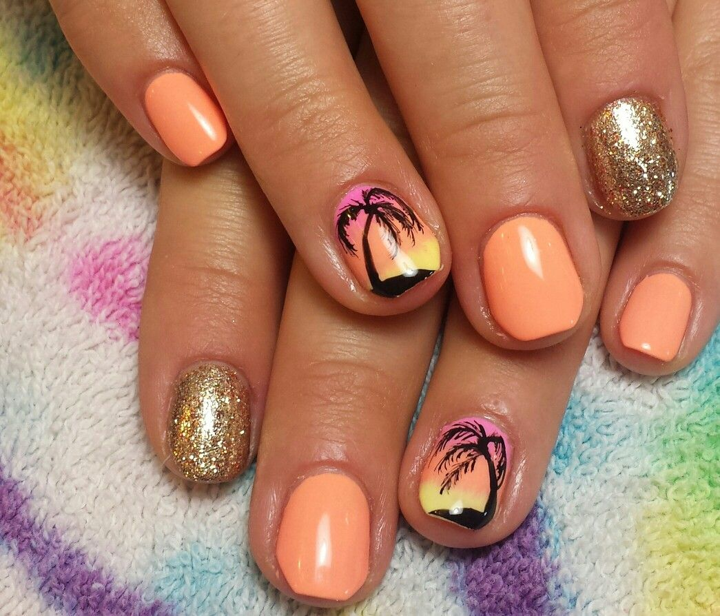 Beach Coral Gel Hombre Fade Palm Tree Nails In 2019 Palm Tree Nail Art Beach Nail Designs