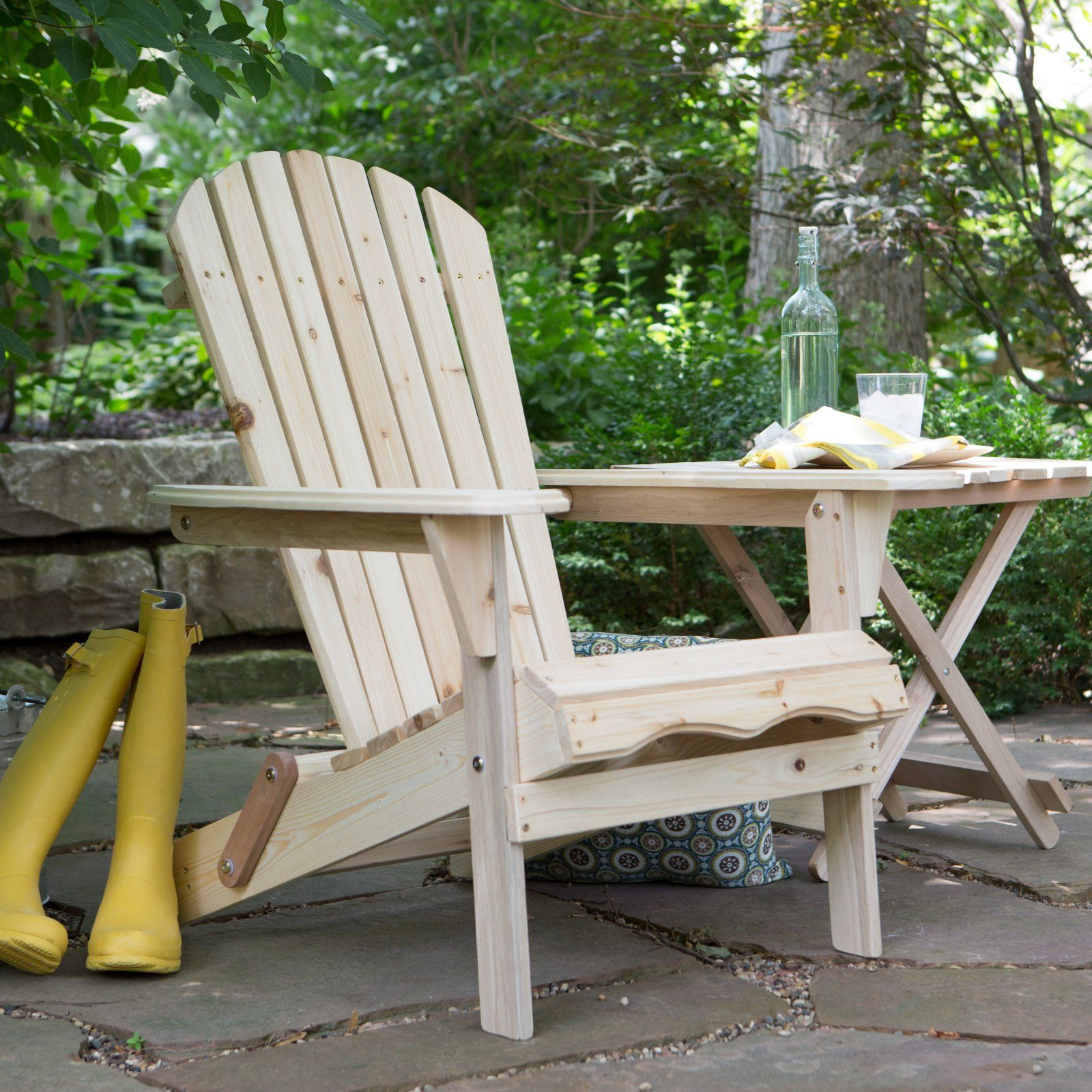 Outdoor Foldable Adirondack Chair Kit Natural