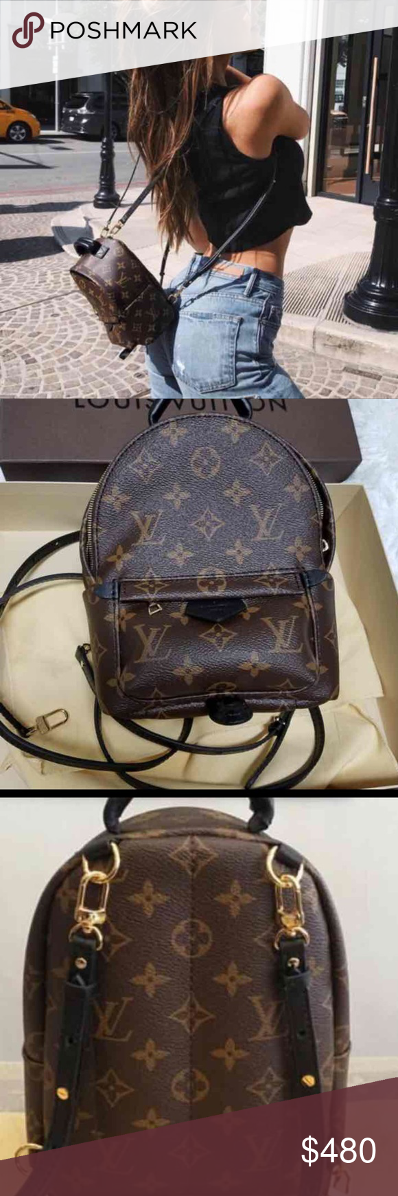 The Mini Palm Springs backpack one in soft Monogram canvas sports a  multi-positional strap for cross-body use. Louis Vuitton Bags Crossbody Bags f8bd45c084