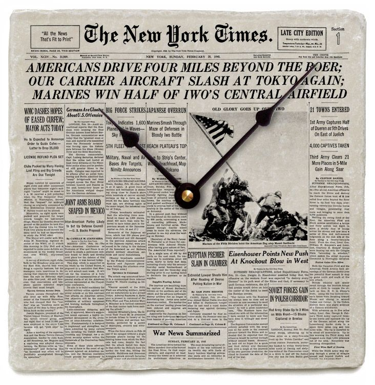 Your New York Times Front Page on Marble Clock Best
