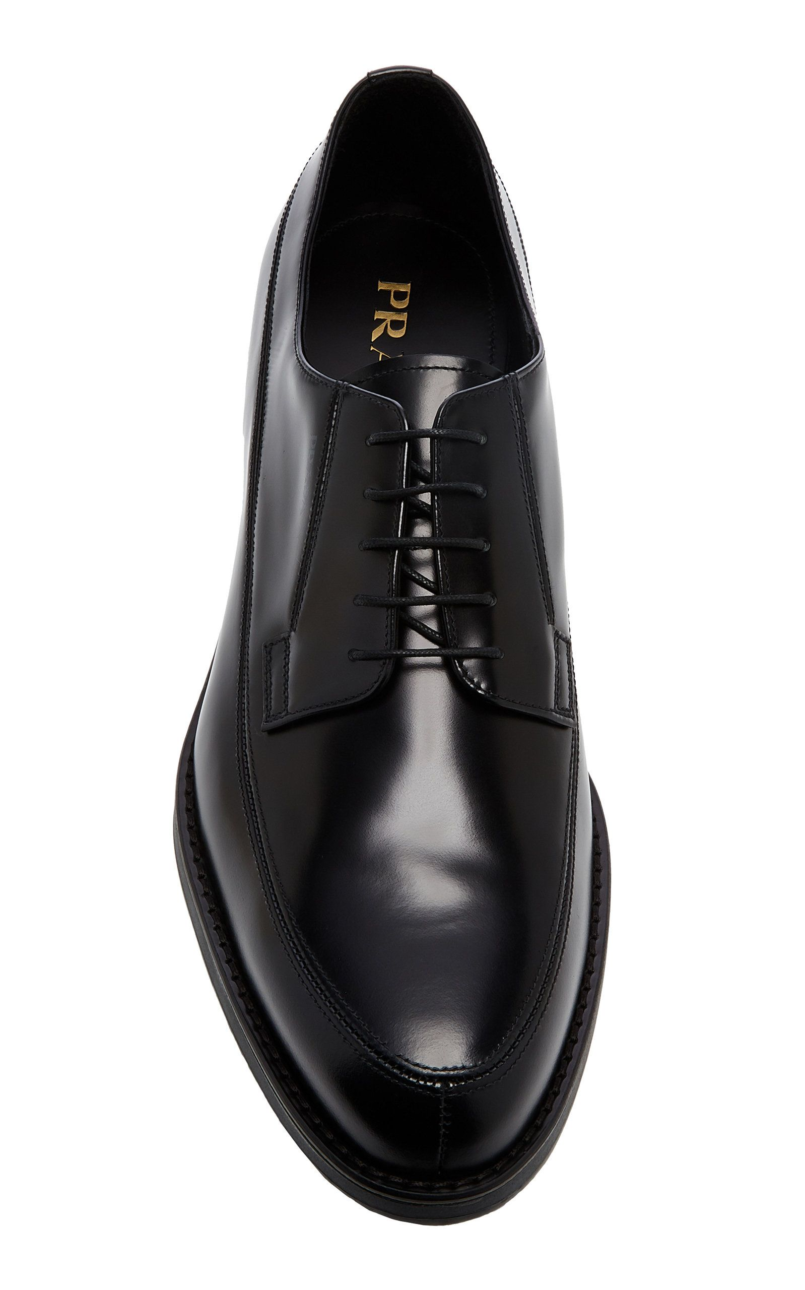 Prada Spazzolato Rois Leather Derby Shoes Dress Shoes Men Mens Black Dress Shoes Dress Shoes [ 2560 x 1598 Pixel ]