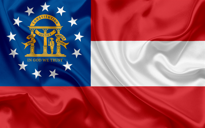 Download Wallpapers Flag Of Georgia State Flags Of States Usa State Georgia Silk Besthqwallpapers Com Bandeira Da Georgia Georgia Eua Georgia