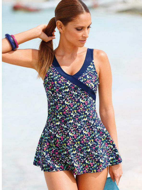 b4d785d50 Bañador vestido mujer efecto vientre plano Bikini De Ganchillo