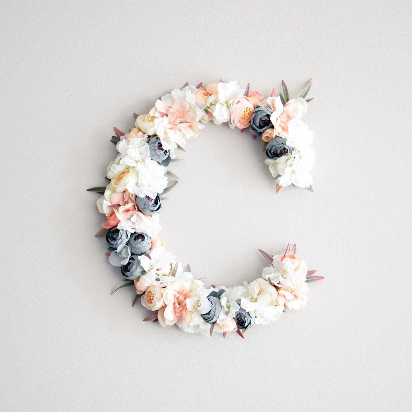 Diy Baby Nursery Floral Wall Decor: Floral Letter Baby Girl Nursery Decor, Wall Hanging Wall