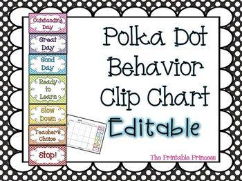 Polka dot behavior clip chart editable also charts rh pinterest