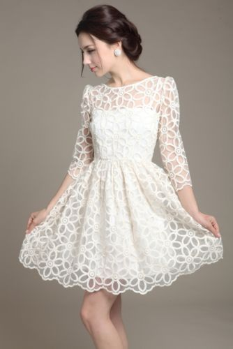Elegant Womens Trendy Lace Sunflower pattern 3/4 sleeve dress white SIZE M SYZ01