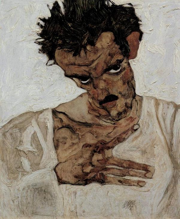 Egon Schiele, 1912, Self-portrait with head down.