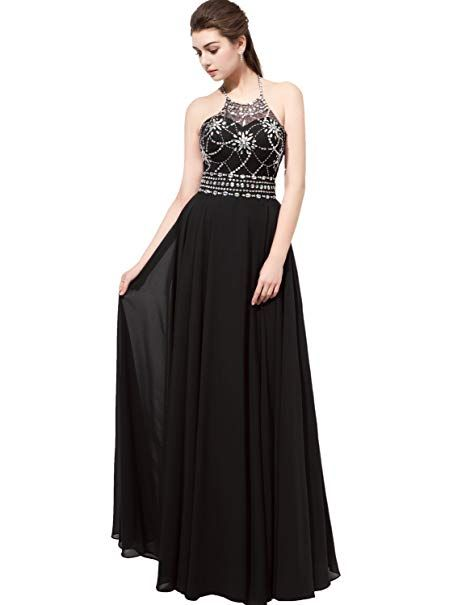 daff3e246cc Sarahbridal Women s Halter Beading Bridesmaid Dress Prom Ball Gown Long  Black US2