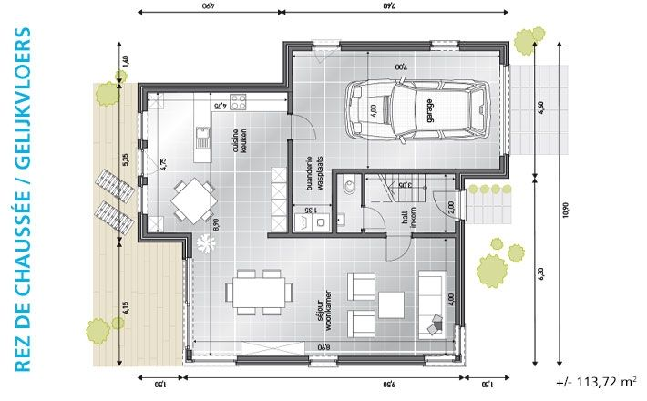 Woningen blavier strakke woning bl 333 grondplan woning for Grondplannen woningen