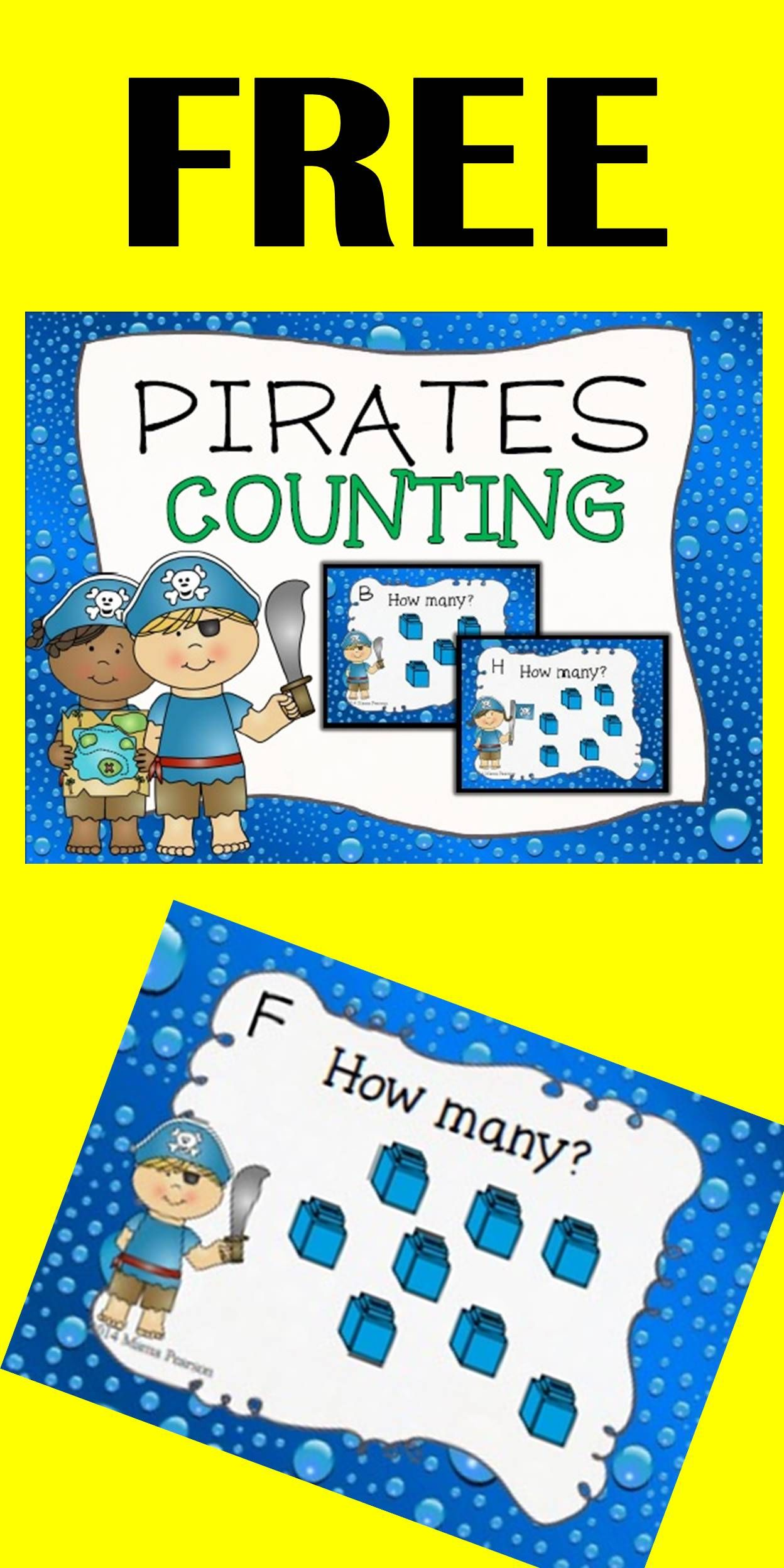 Free Pirate Counting Task Cards