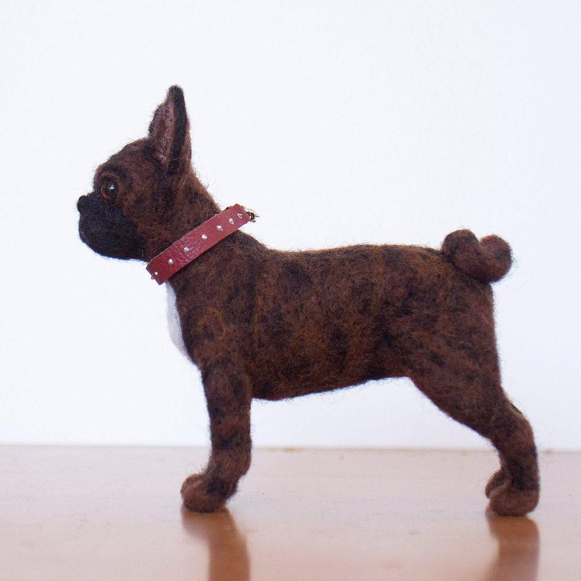 French Bulldog puppy statue Needle felted frenchie brindle