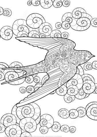 Golondrina en el Cielo Zentangle Dibujo para colorear | Golondrina ...