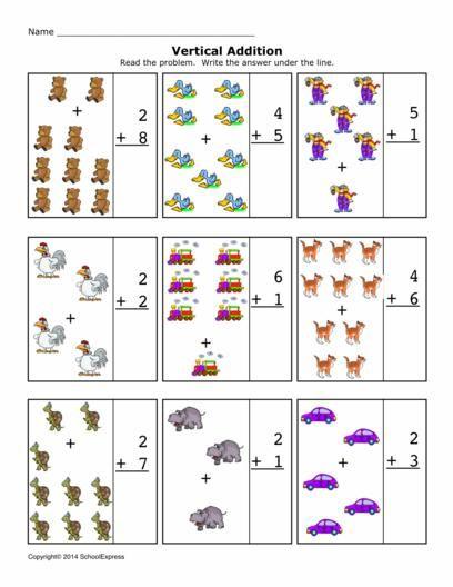 Math Worksheets, Addition Worksheets, Sums 1-10, Vertical | MATES ...